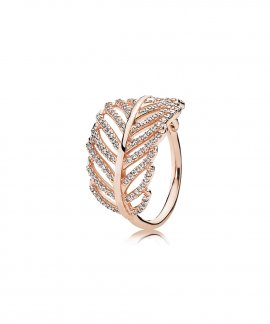 Pandora Rose Shimmering Feather Joia Anel Mulher 180886CZ