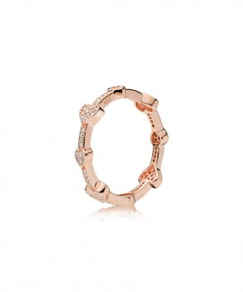 Pandora Rose Alluring Hearts Joia Anel Mulher 187729CZ