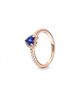 Pandora Rose Sparkling Blue Elevated Heart Joia Anel Mulher 188421C01