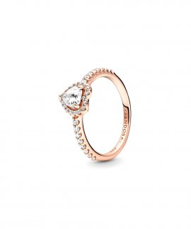 Pandora Rose Sparkling Elevated Heart Joia Anel Mulher 188421C02