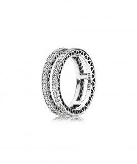 Pandora Double Hearts Joia Anel Mulher 196236CZ