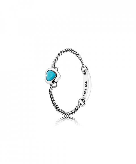 Pandora Spirited Heart Chain Blue Joia Anel Mulher 197191NYA