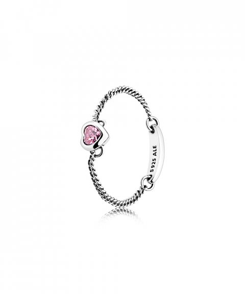 Pandora Spirited Heart Chain Pink Joia Anel Mulher 197191PCZ