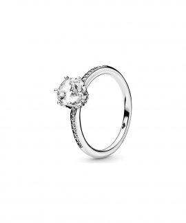Pandora Clear Sparkling Crown Joia Anel Mulher 198289CZ