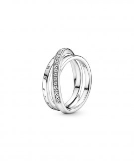 Pandora Crossover Pavé Triple Band Joia Anel Mulher 199057C01