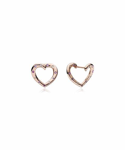 Pandora Rose Bright Hearts Joia Brincos Mulher 287231NRPMX