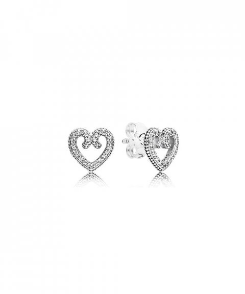 Pandora Heart Swirls Joia Brincos Mulher 297099CZ