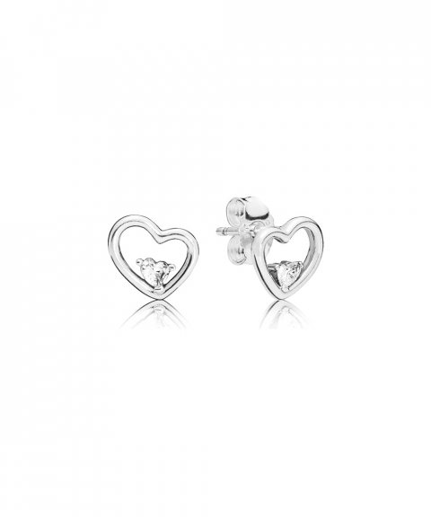 Pandora Asymmetric Hearts of Love Joia Brincos Mulher 297813CZ