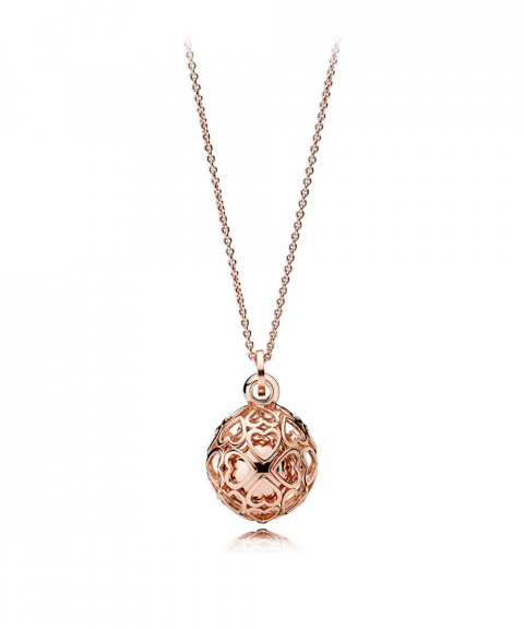 Pandora Rose Harmonious Hearts Chime Joia Colar Mulher 387299