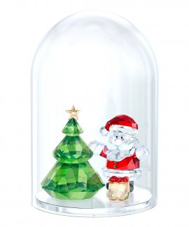 Swarovski Bell Jar - Christmas Tree and Santa Decoração Figura de Cristal Adorno 5403170