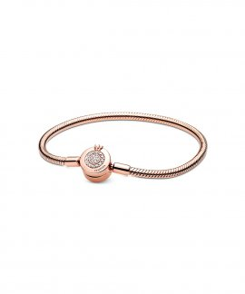 Pandora Rose Moments Sparkling Crown O Snake Joia Pulseira Mulher 589046C01