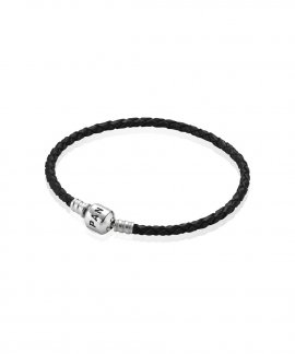 Pandora Moments Single Woven Leather Joia Pulseira Mulher 590705CBK-S