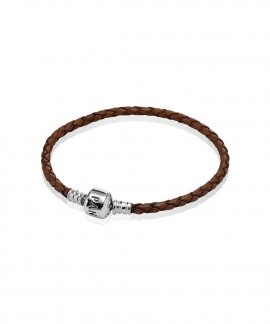Pandora Moments Single Woven Leather Joia Pulseira Mulher 590705CBN-S