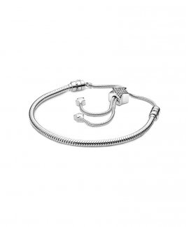 Pandora Moments Pavé Star and Snake Chain Joia Pulseira Mulher 598528C01-2