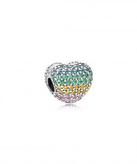 Pandora Multi-Colour Pave Open My Heart Joia Conta Clip Mulher 797221NRPMX