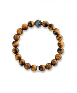 Thomas Sabo Ethnic Tiger`s Eye Brown Joia Pulseira A1679-826-2-L17