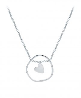 Omnia Outline Heart Joia Colar Mulher C1523T-P