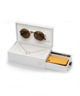 One Unique Box Rosegold Colar Óculos de Sol Set Mulher OSBMS4572RCC321H