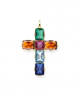 Thomas Sabo Cross Colourful Stones Joia Pendente Colar Mulher PE858-996-7