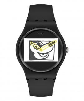 Swatch Keith Haring Mickey Blanc Sur Noir Relógio SUOZ337