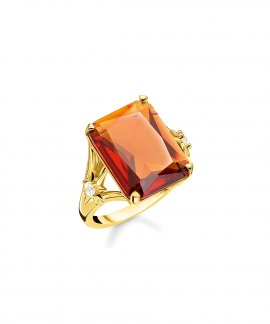 Thomas Sabo Orange Stone Joia Anel Mulher TR2261-971-8