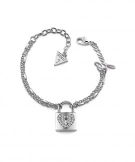 Guess Heart Lock Joia Pulseira Mulher UBB85116-S
