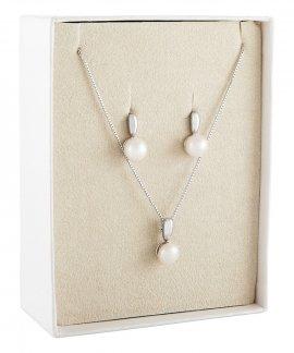 Unike Jewellery Classy Pearls Gift Set Joia Colar Brincos Mulher UK.PK.1202.0003