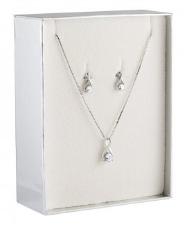Unike Jewellery Classy Solitaire Gift Set Joia Colar Brincos Mulher UK.PK.1202.0005