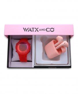 Watx and Co Pack Original Pink M Pink Earbud Relógio Set WAPACKEAR1_M