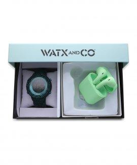 Watx and Co Pack Original Green Glitter M Green Earbud Relógio Set WAPACKEAR2_M